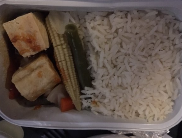 A British Airways vegetarian meal left one passenger disappointed: Twitter/@EndzoneFilms