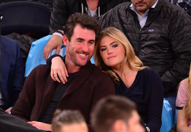 <p>Justin Verlander and Kate Upton attend the Orlando Magic vs New York Knicks game at Madison Square Garden on November 12, 2014 in New York City. (Photo by James Devaney/GC Images) </p>