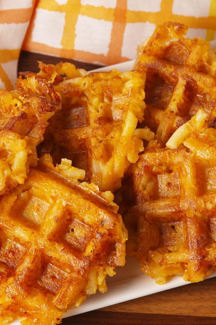 """<p>Proof that a waffle iron makes everything better.</p><p>Get the <a href=""""http://www.delish.com/uk/cooking/recipes/a28830821/mac-n-cheese-waffles-recipe/"""" rel=""""nofollow noopener"""" target=""""_blank"""" data-ylk=""""slk:Mac 'N Cheese Waffles"""" class=""""link rapid-noclick-resp"""">Mac 'N Cheese Waffles</a> recipe. </p>"""