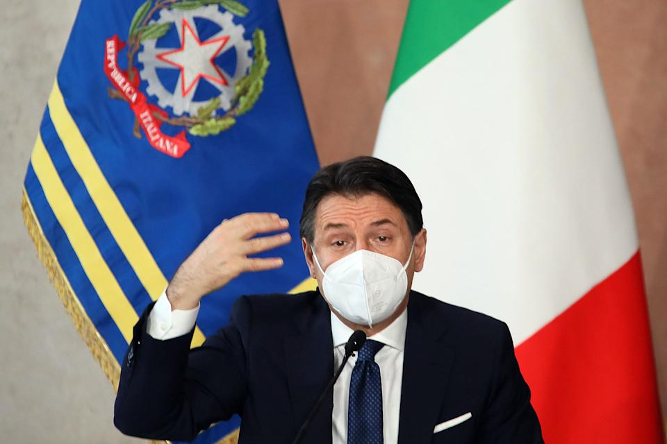 The Italian Premier Giuseppe Conte wearing a face mask during the end of year press conference at Villa Madama. Rome (Italy), December 30th 2020 (Photo by Insidefoto/Mondadori Portfolio via Getty Images) (Photo: Mondadori Portfolio via Getty Images)