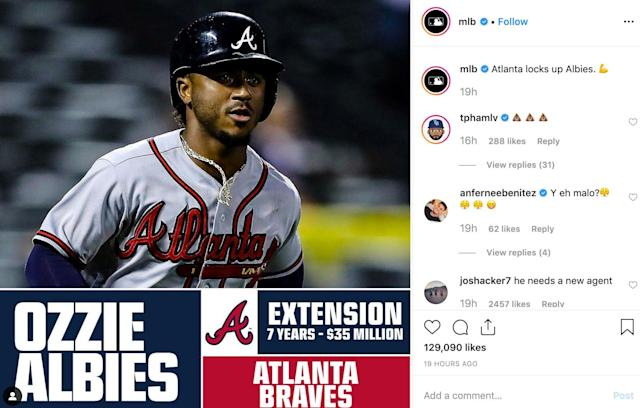 Tommy Pham didn't like Ozzie Albies' extension. (Screen grab via @mlb on Instagram)
