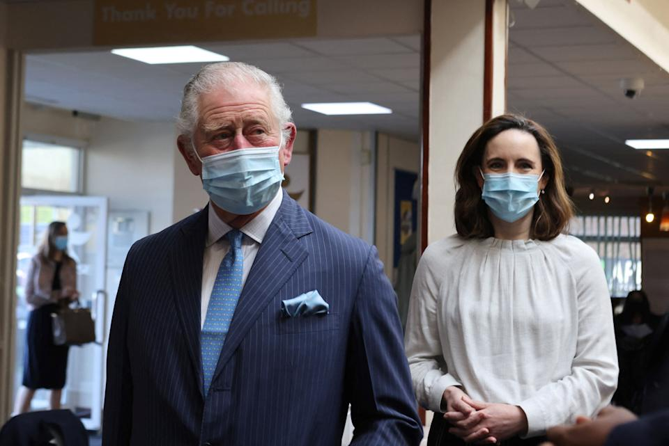 Britain's Prince Charles, Prince of Wales arrives at a pop-up NHS Covid-19 vaccine  clinic at Jesus House church in northwest London on March 9, 2021, where he learnt about the ongoing community work to combat vaccine hesitancy and support for the community from Pastor Agu Irukwu. (Photo by Ian Vogler / POOL / AFP) (Photo by IAN VOGLER/POOL/AFP via Getty Images)