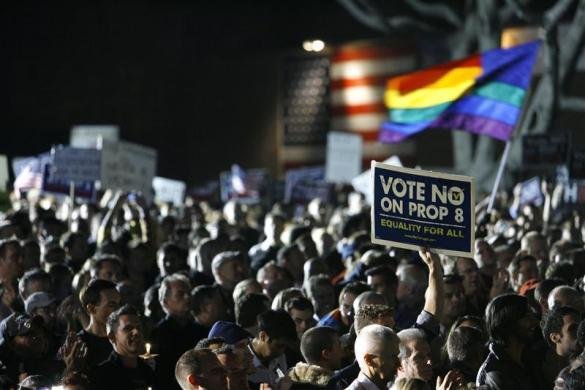 "Supporters gather during a ""No on Prop 8"" rally in West Hollywood California November 5, 2008. Opponents of Proposition 8 gathered to criticize the passage of the initiative defining marriage as between one man and one woman. California and two other states voted in Tuesday's elections to ban same-sex marriage, overturning a right given to gays and lesbians in the liberal, trend-setting state just months ago in state court."