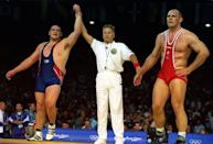 American wrestler Rulon Gardner made his Olympic debut at the 2000 Games in Sydney. The Yankee brute was up against Aleksandr Karelin of Russia, but this was no ordinary match. Until then, Karelin went undefeated for 13 years of international competition and his large build was meant to intimidate his opponents. All that changed when Gardner upset the Russian wrestler to bring the gold back to the U.S. (Getty Images)
