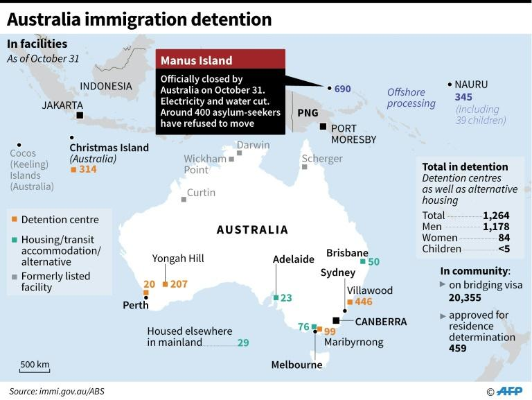 Updated graphic showing Australia's immigration detention facilities, as of October 31