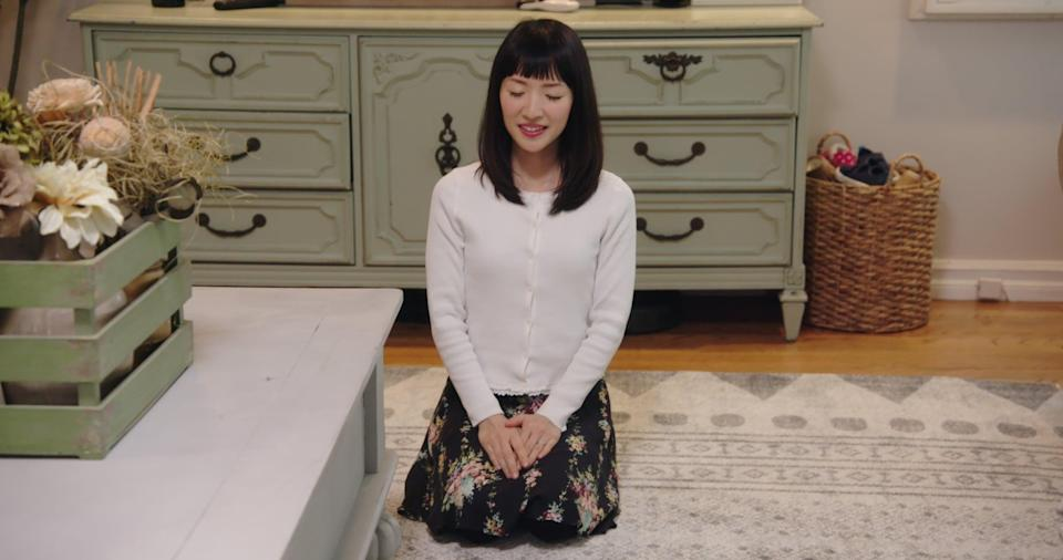 """<p>Marie Kondo, author of <strong>Spark Joy</strong> and <strong>The Life-Changing Magic of Tidying Up</strong>, hosts this series as she pays visits to disorganized participants and helps them take the clutter out of their lives, one home makeover at a time. Organization has never been so satisfying or mesmerizing (especially when you're under the influence of the devil's lettuce). </p> <p><a href=""""https://www.netflix.com/search?q=tidying&amp;jbv=80209379"""" class=""""link rapid-noclick-resp"""" rel=""""nofollow noopener"""" target=""""_blank"""" data-ylk=""""slk:Watch Tidying Up With Marie Kondo on Netflix now."""">Watch <strong>Tidying Up With Marie Kondo</strong> on Netflix now.</a></p>"""