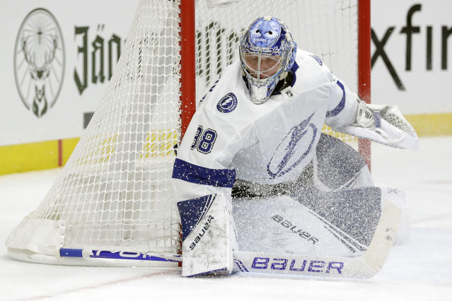 Tampa Bay Lightning goaltender Andrei Vasilevskiy, of Russia, plays against the Nashville Predators in the second period of an NHL hockey game Tuesday, Dec. 3, 2019, in Nashville, Tenn. (AP Photo/Mark Humphrey)