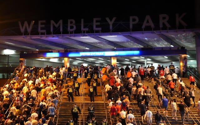 England fans outside Wembley Park station after the final (Zac Goodwin/PA)