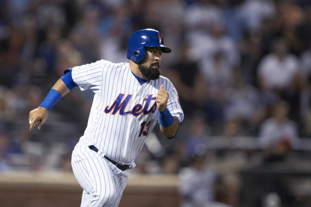 New York Mets' Luis Guillorme runs to first after hitting an RBI double during the fifth inning of the team's baseball game against the Cleveland Indians, Wednesday, Aug. 21, 2019, in New York. (AP Photo/Mary Altaffer)