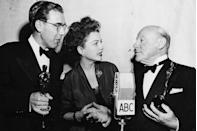 "<p>Anne Baxter presented at the ceremony where <em><a href=""https://www.amazon.com/dp/B0031QNDUO?ref=sr_1_1_acs_kn_imdb_pa_dp&qid=1547577755&sr=1-1-acs&autoplay=0&tag=syn-yahoo-20&ascsubtag=%5Bartid%7C10055.g.5132%5Bsrc%7Cyahoo-us"" rel=""nofollow noopener"" target=""_blank"" data-ylk=""slk:Miracle on 34th Street"" class=""link rapid-noclick-resp"">Miracle on 34th Street</a></em> took three awards including Best Supporting Actor for Edmund Gwenn and Best Screenplay for George Seaton. 71-year-old Edmund was the oldest Oscar winner until George Burns won in 1976 at the age of 80.</p>"
