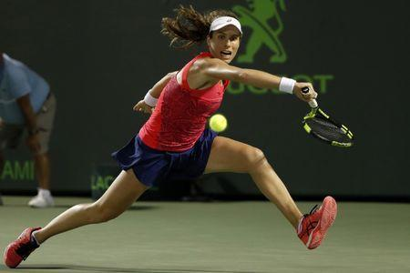 Mar 30, 2017; Miami, FL, USA; Johanna Konta of Great Britain reaches for a backhand against Venus Williams of the United States (not pictured) in a women's singles semi-final during the 2017 Miami Open at Crandon Park Tennis Center Mandatory Credit: Geoff Burke-USA TODAY Sports