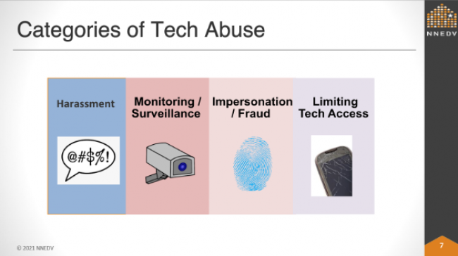 The top categories of tech abuse were discussed during Paige's Tools for Online Privacy and Security session