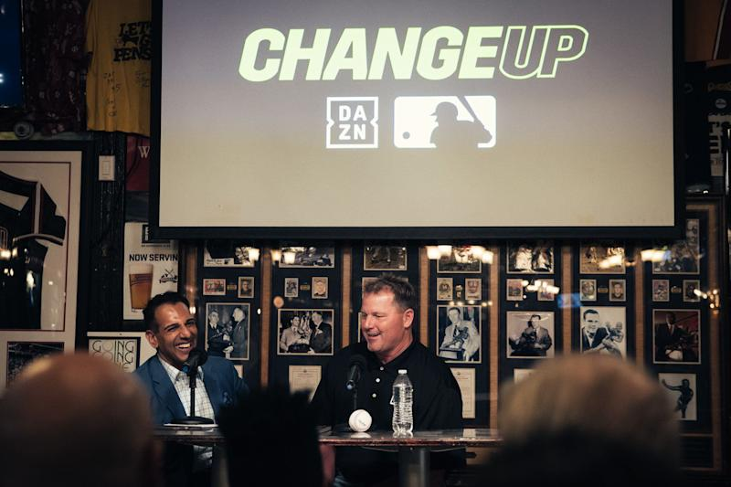 "Adnan Virk, host of ""ChangeUp"" on DAZN, with Roger Clemens at Foley's Pub in New York City on March 26, 2019. (Amanda Westcott/DAZN)"