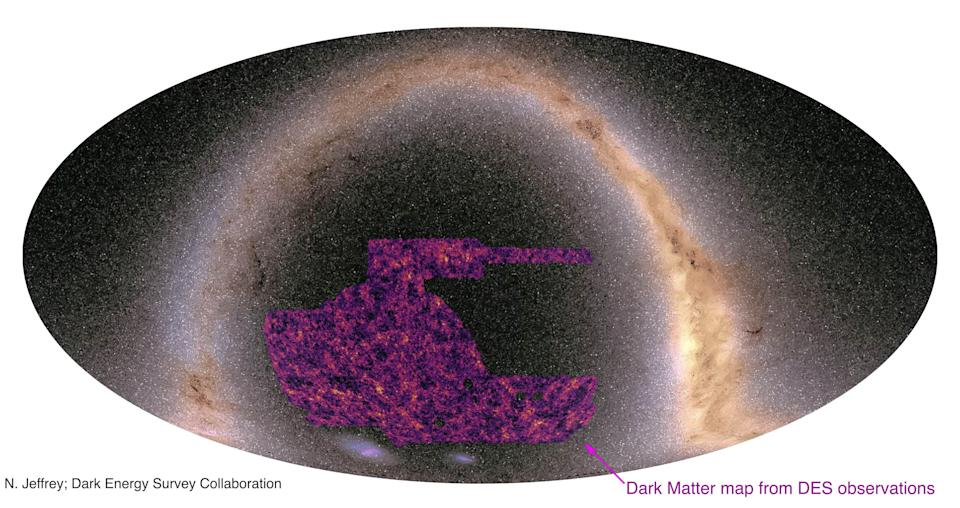 The lightest areas of the map show the regions where darkmatter is most dense. These correspond to superclusters of galaxies. The dark, almost black patches are cosmic voids, the large empty spaces in between clusters of galaxies. The map has been superimposed on an image of the Milky Way. (N Jeffrey/Dark Energy Survey collaboration)