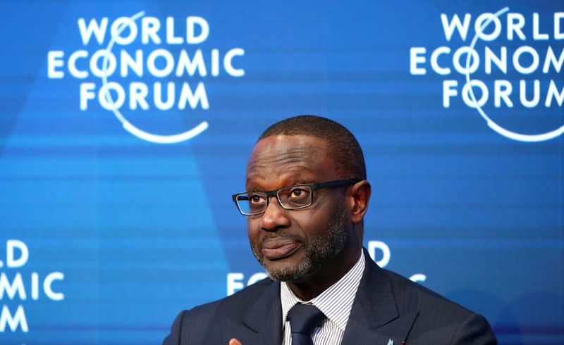 Tidjane Thiam, Chief Executive Officer of Credit Suisse attends a session during the 50th World Economic Forum (WEF) annual meeting in Davos