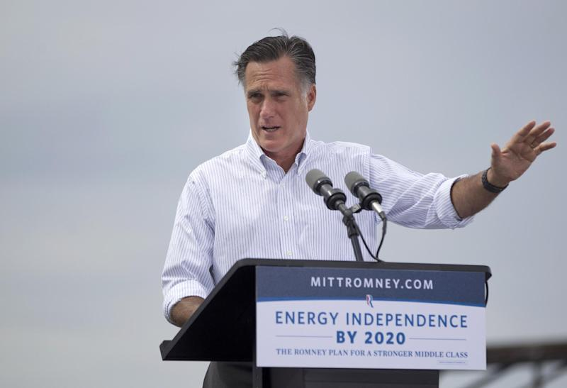 Republican presidential candidate, former Massachusetts Gov. Mitt Romney speaks during a campaign event at Watson Truck and Supply, Thursday, Aug. 23, 2012, in Hobbs, N.M.  (AP Photo/Evan Vucci)