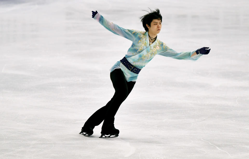 CAPTION CORRECTS THE ID - Yuzuru Hanyu of Japan performs during the Men Free Skating Program at the Figure Skating World Championships in Stockholm, Sweden, Saturday, March 27, 2021. (AP Photo/Martin Meissner)