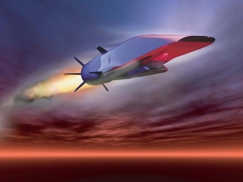 The X-51A Waverider, a prototype for a hypersonic missile, is designed to accelerate to about 7,700mph: US Air Force graphic