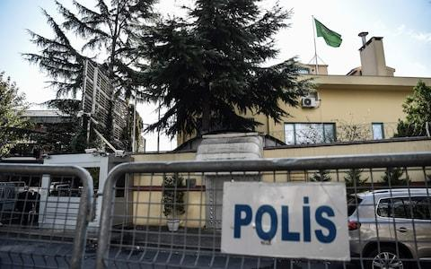 The officials allegedly cleaned the scene at the Saudi consulate in Istanbul - Credit: OZAN KOSE/AFP/Getty Images