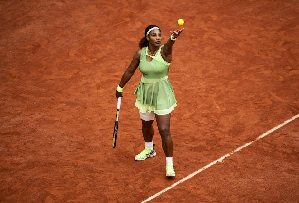 PARIS, FRANCE - JUNE 04: Serena Williams of the United States serves against Danielle Collins of the United States in the third round of the women's singles at Roland Garros on June 04, 2021 in Paris, France. (Photo by TPN/Getty Images)