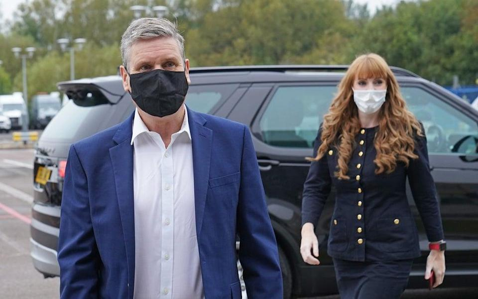Labour Party leader Keir Starmer and deputy leader Angela Rayner arrive at engineering firm Ricardo in Shoreham-by-Sea, West Sussex, ahead of the Labour Party conference (Stefan Rousseau/PA) (PA Wire)