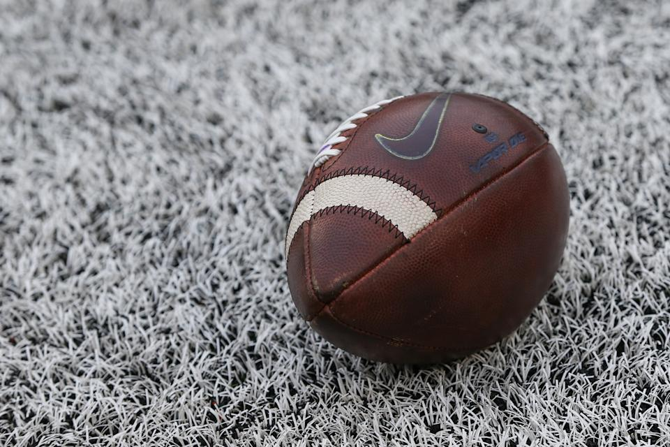 ANN ARBOR, MI - SEPTEMBER 28: A general view of the game ball is seen during a regular season Big 10 Conference game between the Rutgers Scarlet Knights and the Michigan Wolverines on September 28, 2019 at Michigan Stadium in Ann Arbor, Michigan. (Photo by Scott W. Grau/Icon Sportswire via Getty Images)