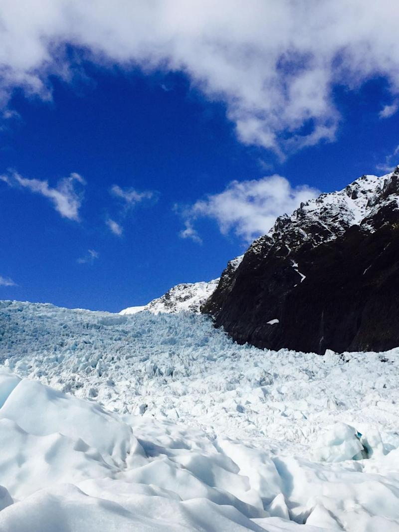Blue skies and white ice combine to create a beautifully surreal landscape. Photo: Be