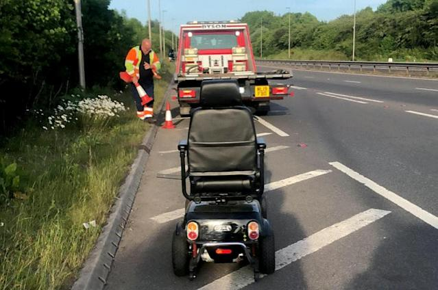 A mobility scooter was spotted being driven on a dual carriageway between Shrewsbury and Wellington (Picture: SWNS)