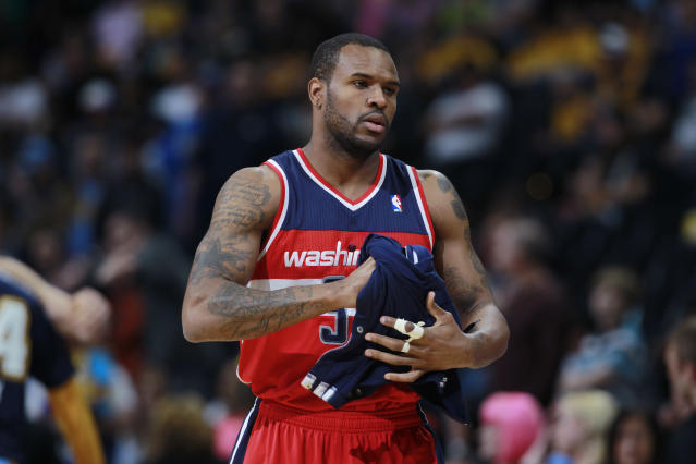 "Looking back on his time with the <a class=""link rapid-noclick-resp"" href=""/nba/teams/washington/"" data-ylk=""slk:Wizards"">Wizards</a>, Trevor Booker said he's just happy he ""got out alive."" (AP/David Zalubowski)"