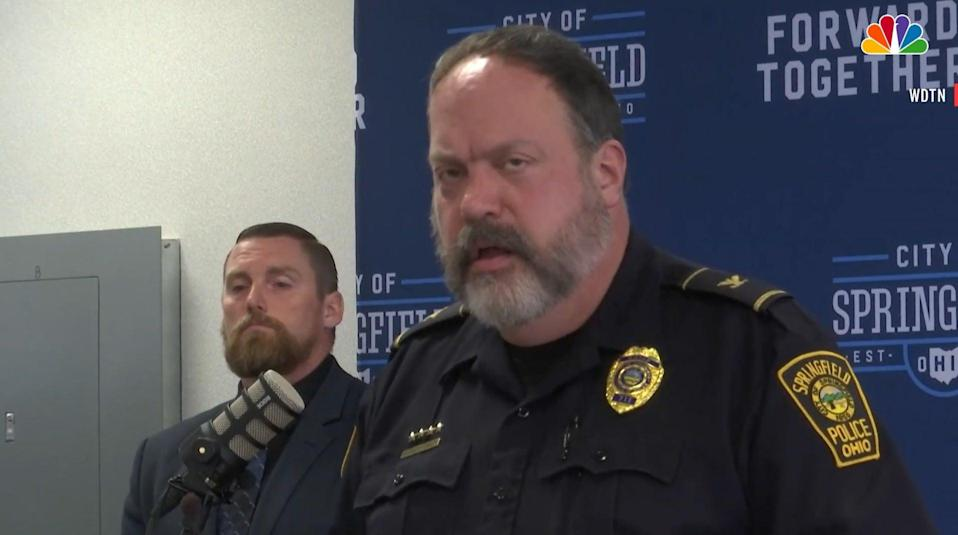 Police chief Lee Graf addressing a press conference in Ohio on Wednesday, 16 June 2021. He was responding to the reports of a police officer running over a gun-wound victim (Screengrab/NBC News)