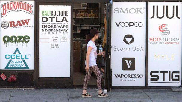 PHOTO: A vaping store is seen before the Los Angeles County Department of Public Health press conference to announce an investigation into deaths associated with the use of e-cigarettes, also known as vaping, in Los Angeles on September 6, 2019. (Mark Ralston/AFP/Getty Images)