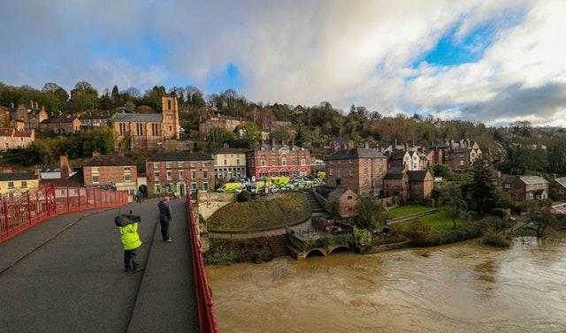 Flooding in Ironbridge, Shropshire