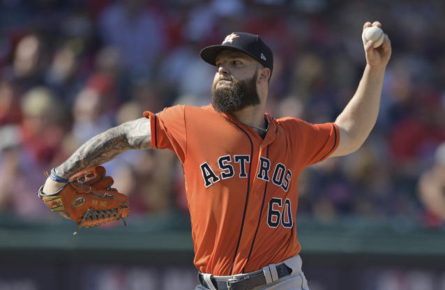 Houston Astros starting pitcher Dallas Keuchel delivers in the second inning during Game 3 of the baseball American League Division Series against the Cleveland Indians, Monday, Oct. 8, 2018, in Cleveland. (AP Photo/David Dermer)