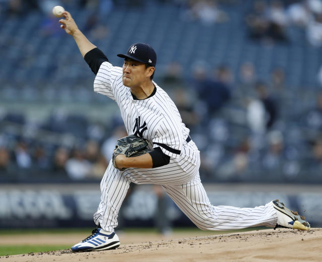 New York Yankees starting pitcher Masahiro Tanaka delivers during the first inning of the team's baseball game against the Seattle Mariners, Tuesday, May 7, 2019, in New York. (AP Photo/Kathy Willens)