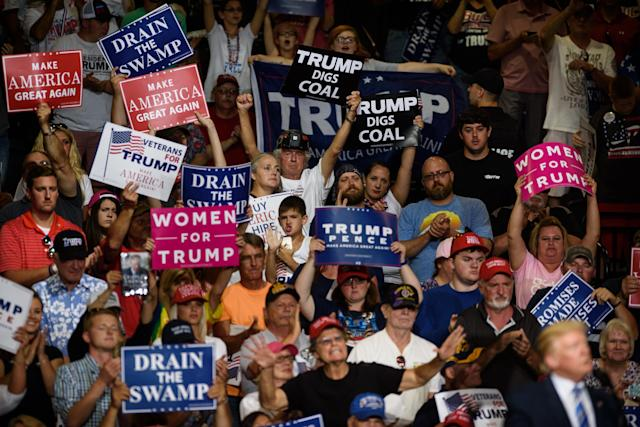 The crowd cheers as President Trump speaks at a campaign rally at the Big Sandy Superstore Arena in August 2017 in Huntington, W.Va. (Photo: Justin Merriman/Getty Images)