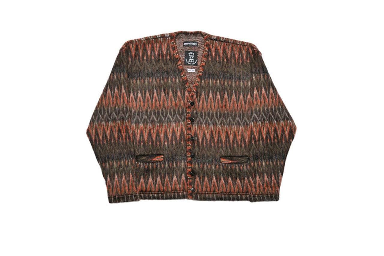 "$429, Monitaly. <a href=""https://www.monitaly.com/shop/shaggy-v-cardigan-made-in-japan-multi-brown"">Get it now!</a>"