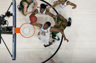 <p>Mfiondu Kabengele #25 of the Florida State Seminoles rebounds the ball against the Vermont Catamounts in the first round of the 2019 NCAA Men's Basketball Tournament held at XL Center on March 21, 2019 in Hartford, Connecticut. (Photo by Ben Solomon/NCAA Photos via Getty Images) </p>