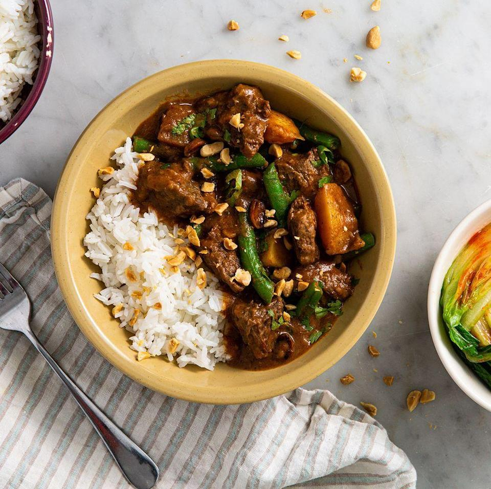 """<p>Beef Massaman <a href=""""https://www.delish.com/uk/curry-recipes/"""" rel=""""nofollow noopener"""" target=""""_blank"""" data-ylk=""""slk:Curry"""" class=""""link rapid-noclick-resp"""">Curry</a> is the dish of dreams, and one of our favourite <a href=""""https://www.delish.com/uk/cooking/recipes/g30761979/thai-food/"""" rel=""""nofollow noopener"""" target=""""_blank"""" data-ylk=""""slk:Thai"""" class=""""link rapid-noclick-resp"""">Thai</a> recipes. The sauce is rich in flavour and the <a href=""""http://www.delish.com/uk/beef-recipes/"""" rel=""""nofollow noopener"""" target=""""_blank"""" data-ylk=""""slk:beef"""" class=""""link rapid-noclick-resp"""">beef</a> falls apart beautifully. </p><p>Get the <a href=""""https://www.delish.com/uk/cooking/recipes/a30621972/beef-massaman-curry/"""" rel=""""nofollow noopener"""" target=""""_blank"""" data-ylk=""""slk:Beef Massaman Curry"""" class=""""link rapid-noclick-resp"""">Beef Massaman Curry</a> recipe.</p>"""