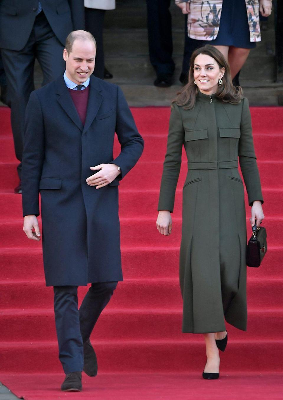 <p>Kate wore a bespoke McQueen coat over an affordable Zara dress during her visit to Bradford.</p>