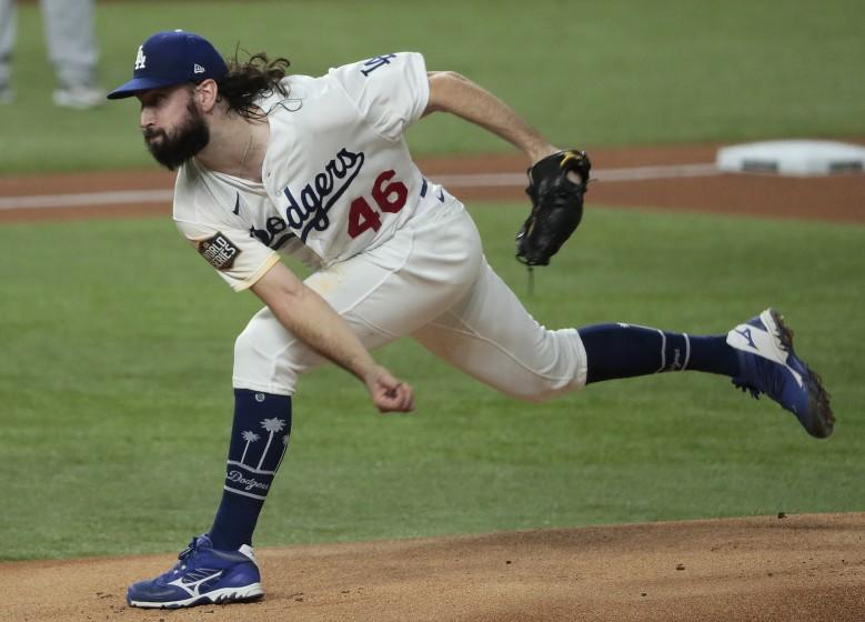 Arlington, Texas, Wednesday, October 21, 2020 Los Angeles Dodgers starting pitcher Tony Gonsolin.