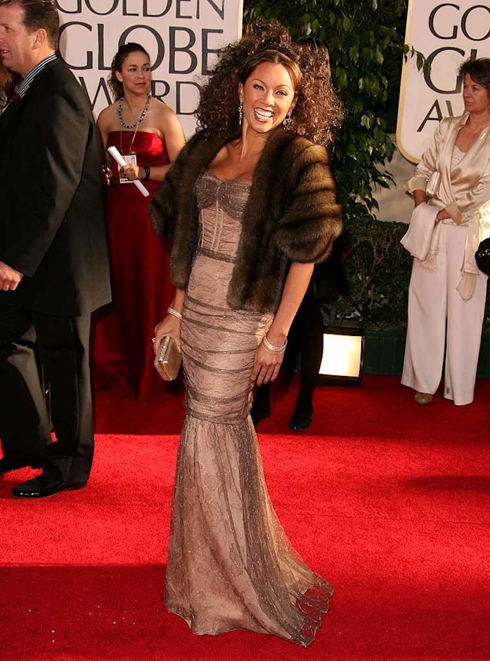 """Is she fur real?! """"Ugly Betty"""" vamp Vanessa Williams is normally a knock-out, but last year's fur wrap and sky-high hairdo were hardly fashionable. Steve Granitz/<a href=""""http://www.wireimage.com"""" target=""""new"""">WireImage.com</a> - January 15, 2007"""
