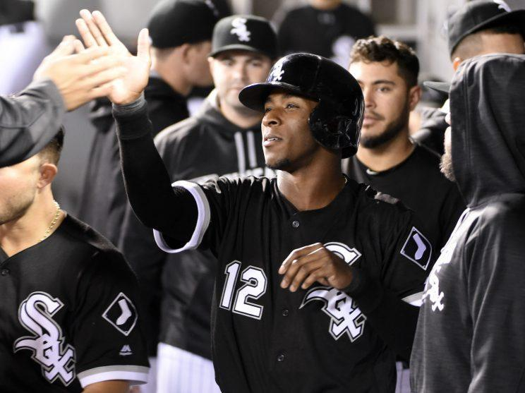 Tim Anderson #12 of the Chicago White Sox is greeted by teammates after scoring against the Minnesota Twins during the first inning on September 30, 2016 at U. S. Cellular Field in Chicago, Illinois. (Photo by David Banks/Getty Images)