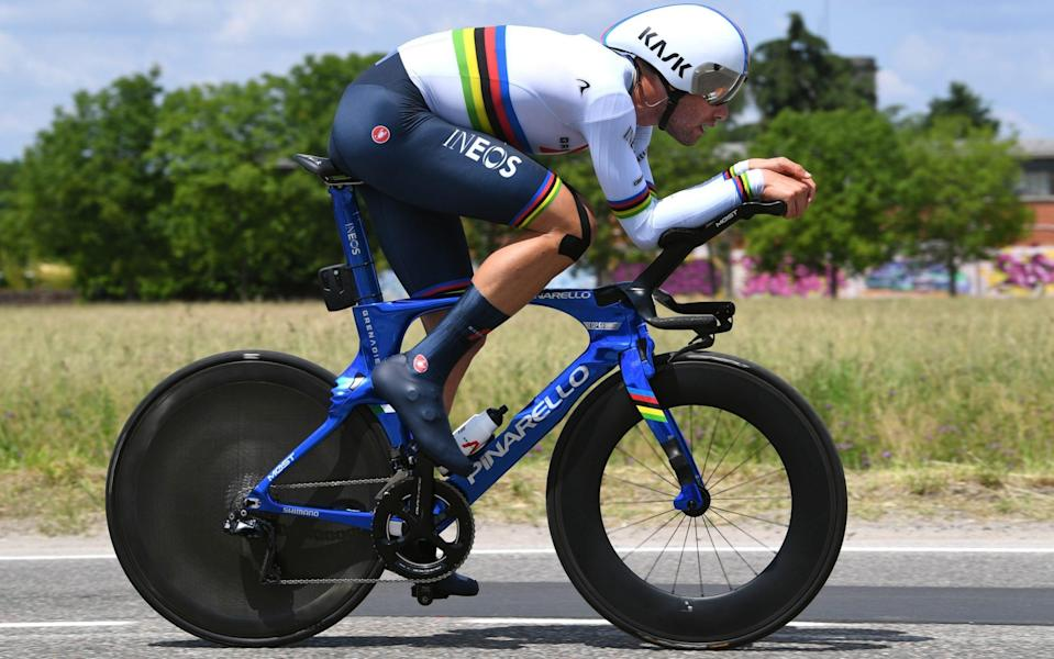 Filippo Ganna set the fastest time in Sunday's time trial despite having to take a bike change - GETTY IMAGES