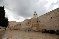The Church of the Nativity that was closed as a preventive measure against the coronavirus, is seen from outside in Bethlehem in the Israeli-occupied West Bank