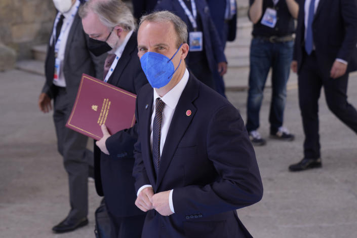 British Foreign Secretary Dominic Raab arrives in Matera, Italy, for a G20 foreign affairs ministers' meeting Tuesday, June 29, 2021.(AP Photo/Antonio Calanni)