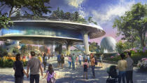 A new pavilion will be home base for Epcot's signature festivals. The beautiful three-level structure will feature a plaza level, a middle expo level, and a park that sits in the sky on the top level, complete with a stunning view of World Showcase. (Disney)