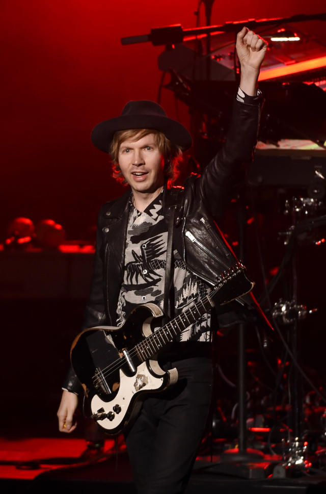 "Singer-songwriter Beck greets the audience at his concert at the John Anson Ford Amphitheatre on Wednesday, Oct. 18, 2017, in Los Angeles. Beck's latest album ""Colors"" was released on Oct. 13. (Photo: Chris Pizzello/Invision/AP)"