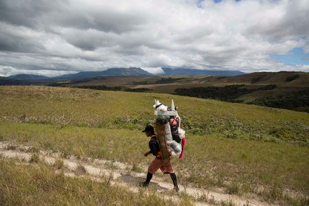 FILE PHOTO: A Pemon indigenous porter walks on the road to Mount Roraima, near Venezuela's border with Brazil, Jan.13, 2015. REUTERS/Carlos Garcia Rawlins/File Photo