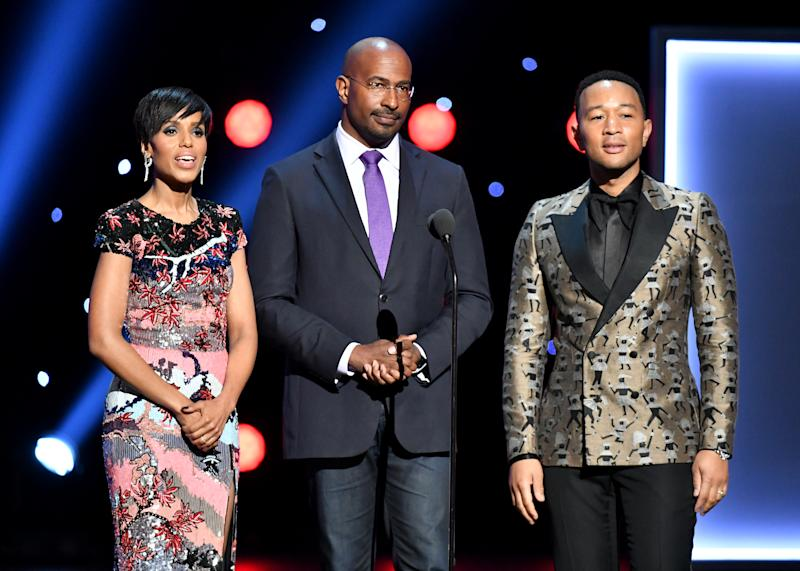 HOLLYWOOD, CALIFORNIA - MARCH 30: (L-R) Kerry Washington, Van Jones, and John Legend speak onstage at the 50th NAACP Image Awards at Dolby Theatre on March 30, 2019 in Hollywood, California. (Photo by Earl Gibson III/Getty Images for NAACP)