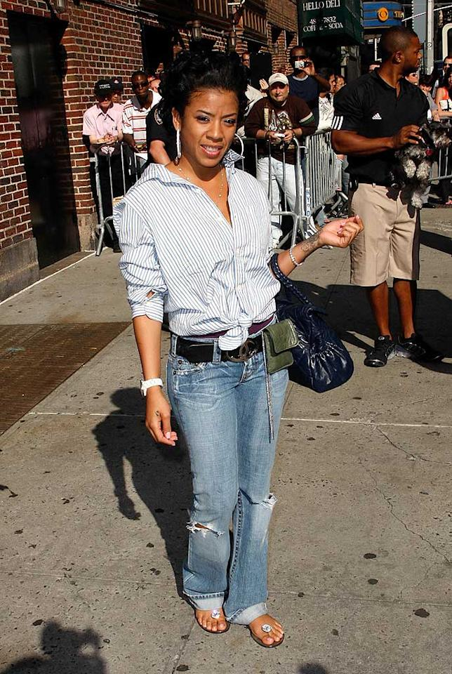 "R&B singer/reality star Keyshia Cole strikes a pose before heading into the Ed Sullivan Theater to perform ""Heaven Sent."" Jeffrey Ufberg/<a href=""http://www.wireimage.com"" target=""new"">WireImage.com</a> - June 19, 2008"